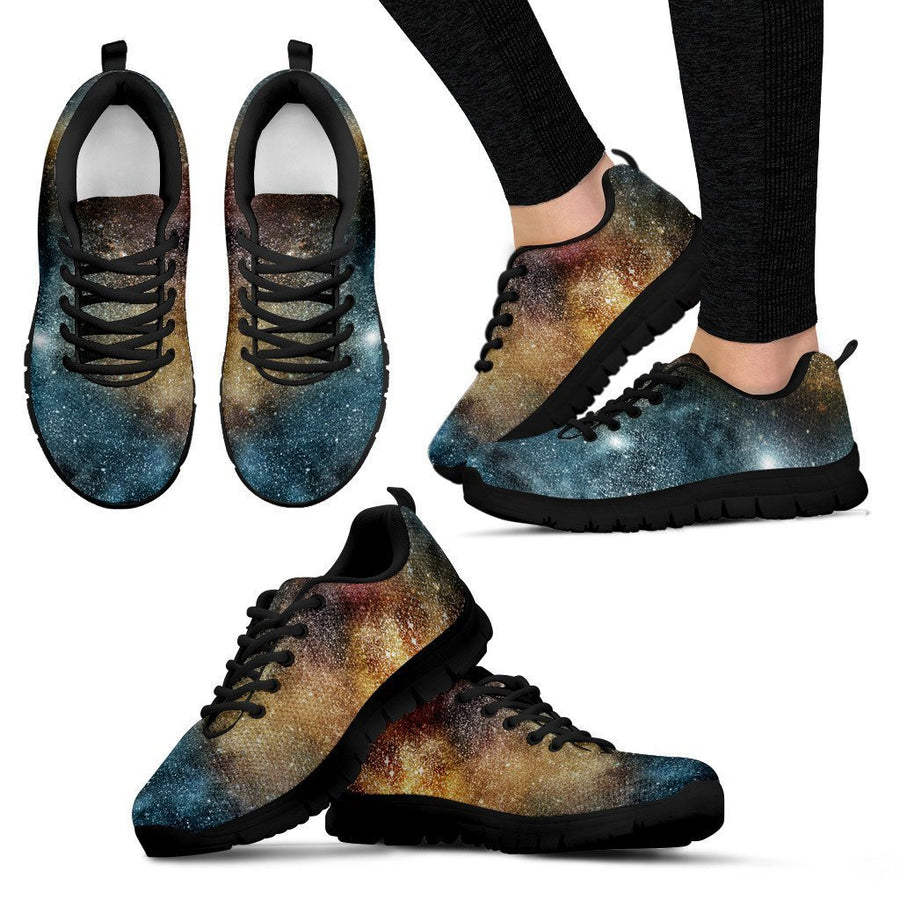 Blue Orange Stardust Galaxy Space Print Women's Sneakers GearFrost