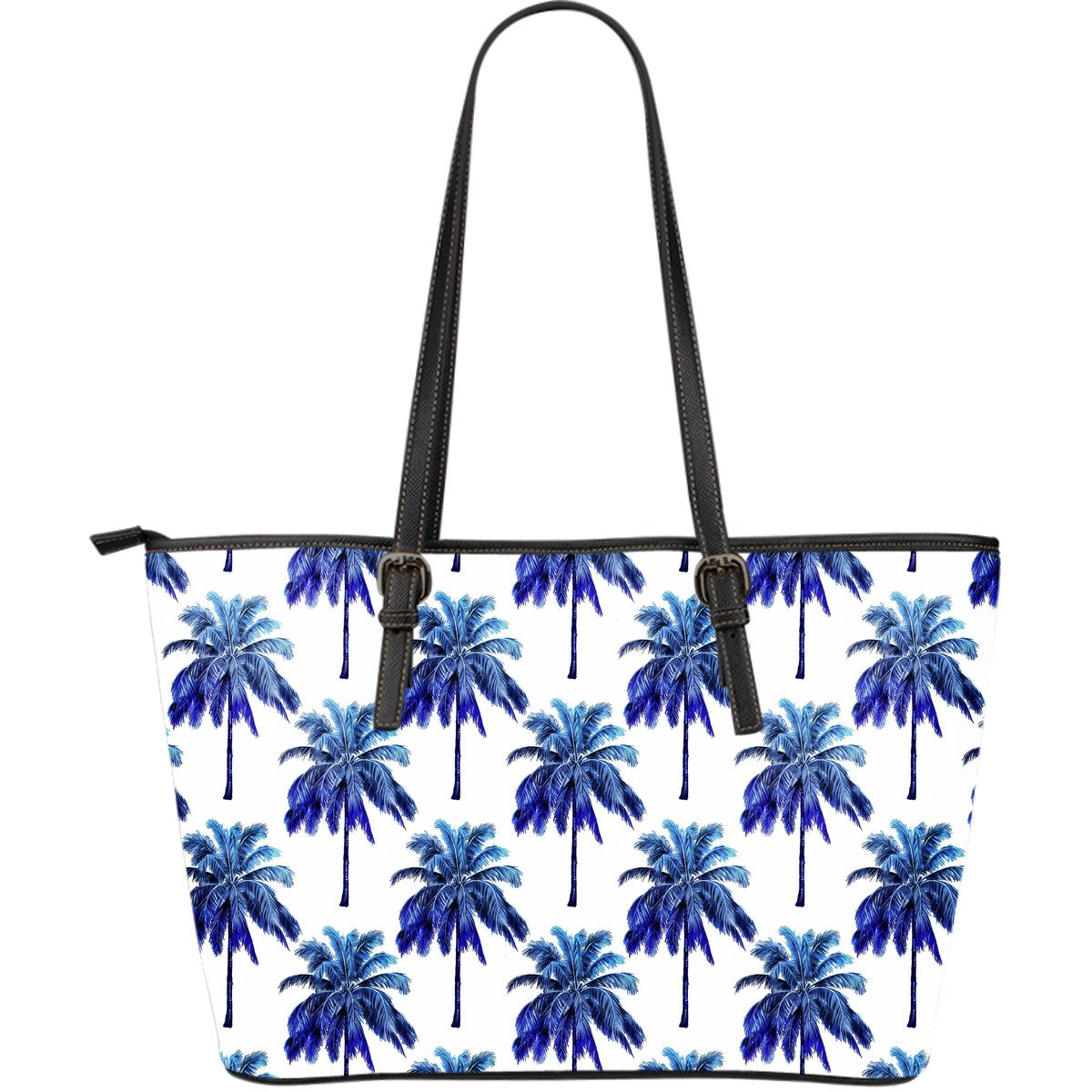 Blue Palm Tree Pattern Print Leather Tote Bag GearFrost