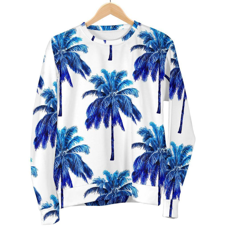Blue Palm Tree Pattern Print Women's Crewneck Sweatshirt GearFrost