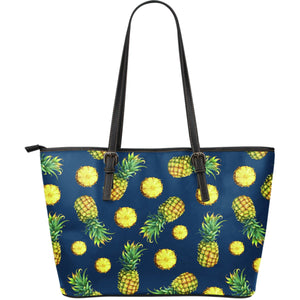 Blue Pineapple Pattern Print Leather Tote Bag GearFrost