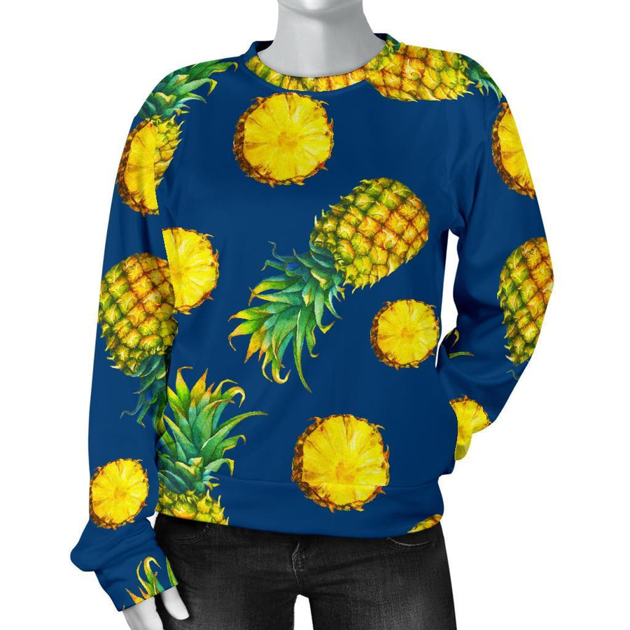 Blue Pineapple Pattern Print Women's Crewneck Sweatshirt GearFrost