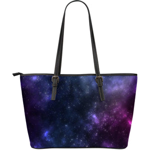 Blue Purple Cosmic Galaxy Space Print Leather Tote Bag GearFrost