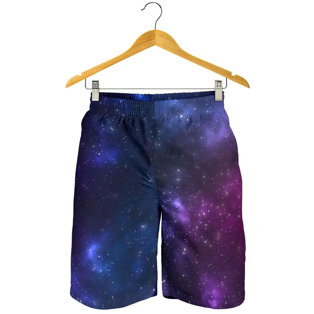 Blue Purple Cosmic Galaxy Space Print Men's Shorts GearFrost