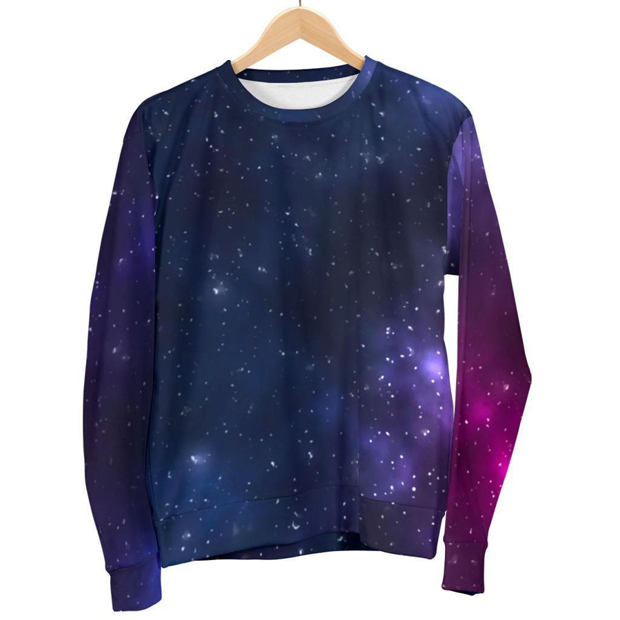 Blue Purple Cosmic Galaxy Space Print Women's Crewneck Sweatshirt GearFrost