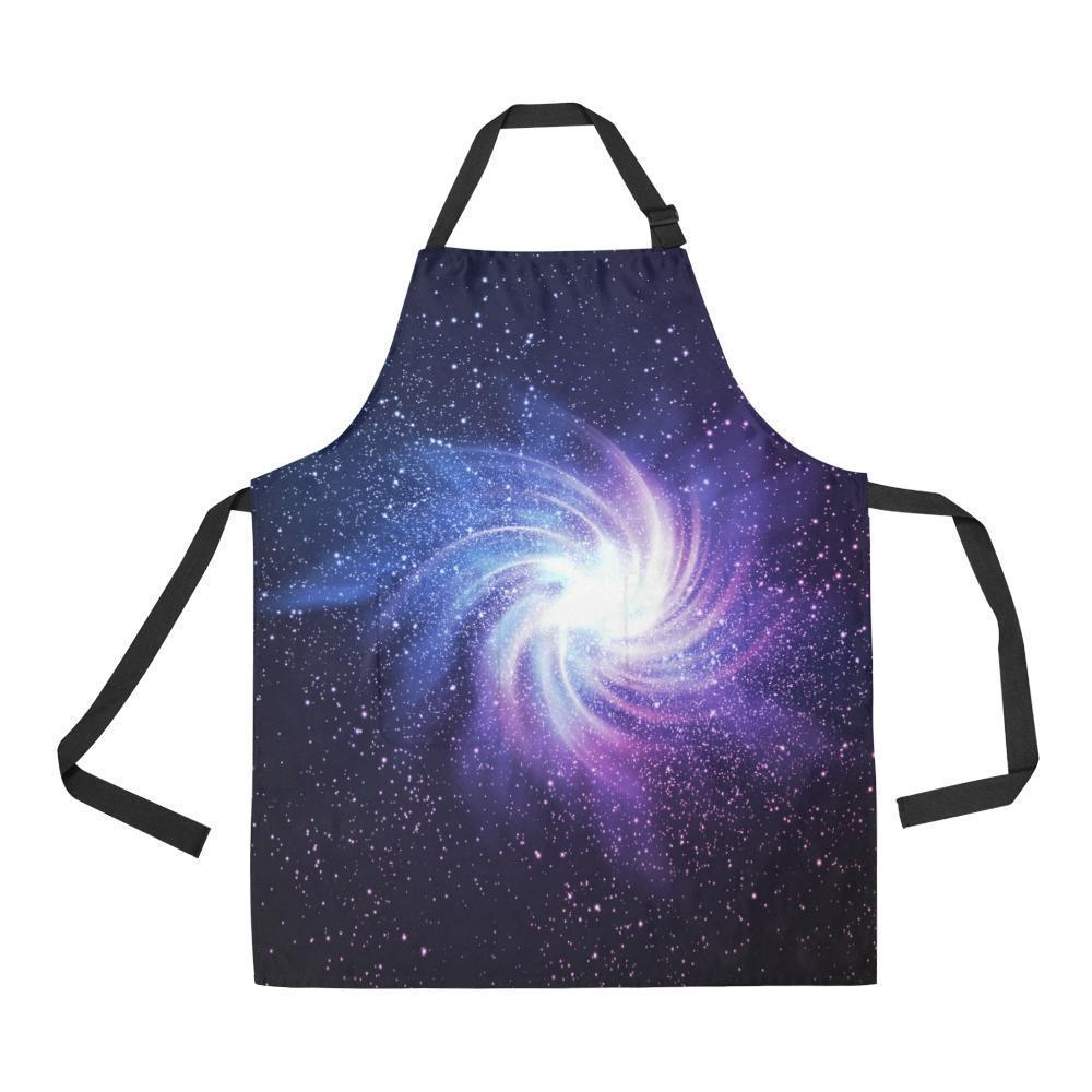 Blue Purple Spiral Galaxy Space Print Bib Apron With Pockets GearFrost