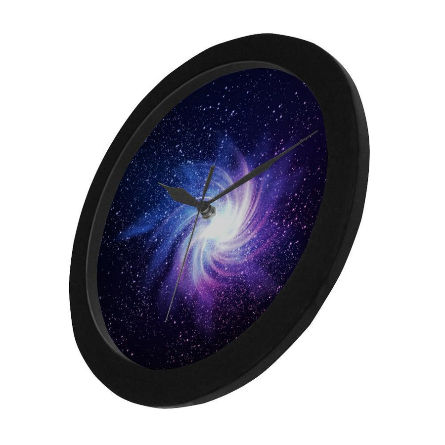 Blue Purple Spiral Galaxy Space Print Black Wall Clock GearFrost