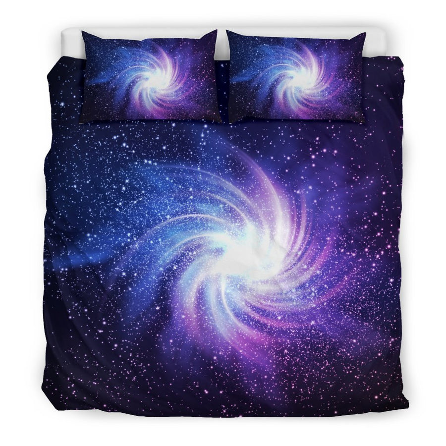 Blue Purple Spiral Galaxy Space Print Duvet Cover Bedding Set GearFrost