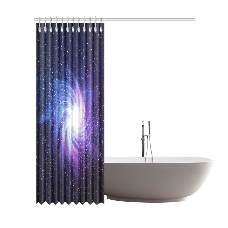 Blue Purple Spiral Galaxy Space Print Extra Long Shower Curtain GearFrost
