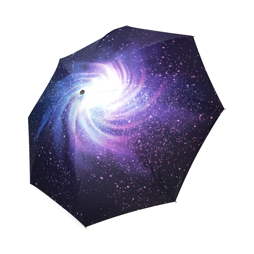 Blue Purple Spiral Galaxy Space Print Foldable Umbrella GearFrost