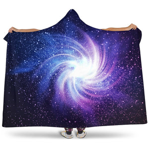 Blue Purple Spiral Galaxy Space Print Hooded Blanket GearFrost