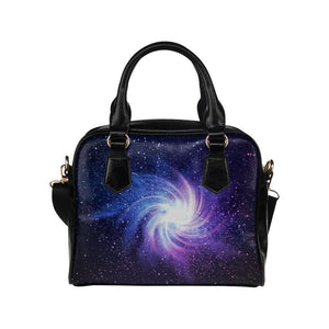 Blue Purple Spiral Galaxy Space Print Leather Shoulder Handbag GearFrost