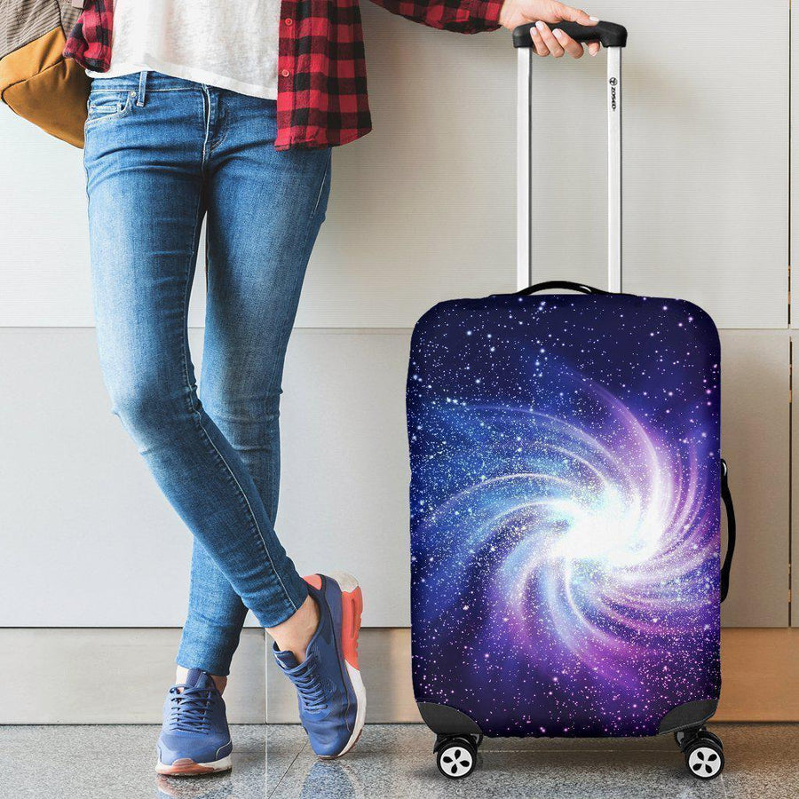 Blue Purple Spiral Galaxy Space Print Luggage Cover GearFrost