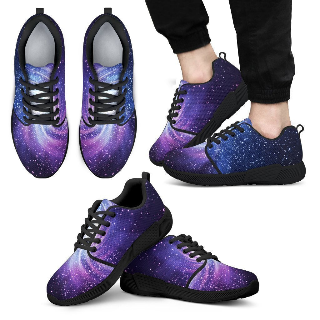 Blue Purple Spiral Galaxy Space Print Men's Athletic Shoes GearFrost