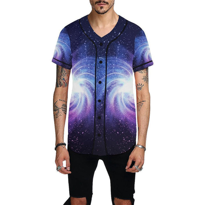Blue Purple Spiral Galaxy Space Print Men's Baseball Jersey GearFrost