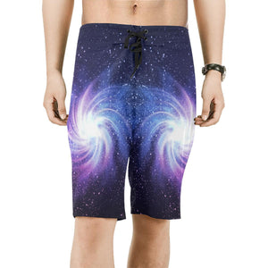 Blue Purple Spiral Galaxy Space Print Men's Board Shorts GearFrost