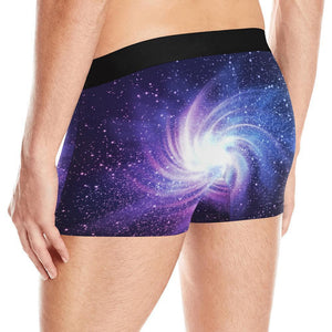 Blue Purple Spiral Galaxy Space Print Men's Boxer Briefs GearFrost