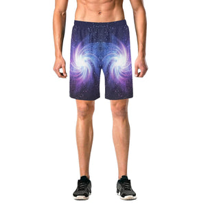 Blue Purple Spiral Galaxy Space Print Men's Elastic Board Shorts GearFrost