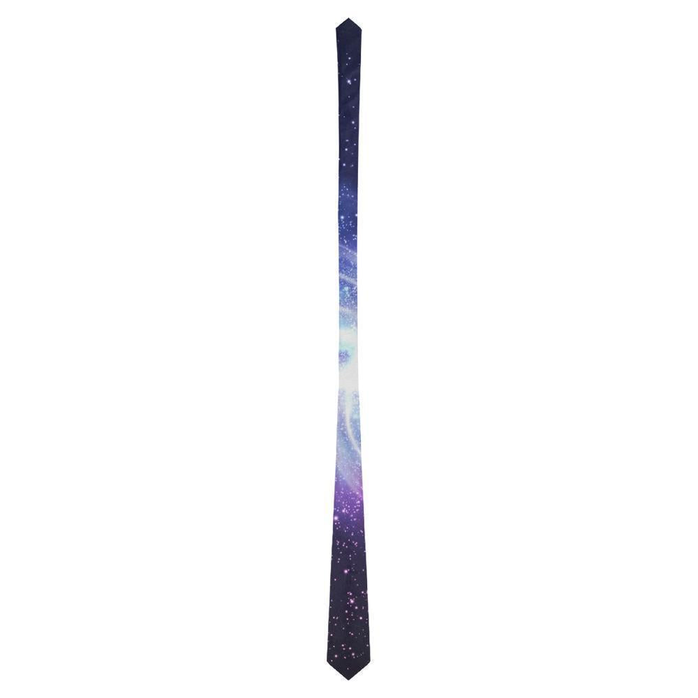 Blue Purple Spiral Galaxy Space Print Men's Necktie GearFrost