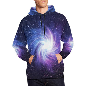 Blue Purple Spiral Galaxy Space Print Men's Pullover Hoodie GearFrost