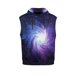 Blue Purple Spiral Galaxy Space Print Men's Sleeveless Hoodie GearFrost
