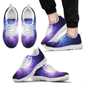 Blue Purple Spiral Galaxy Space Print Men's Sneakers GearFrost