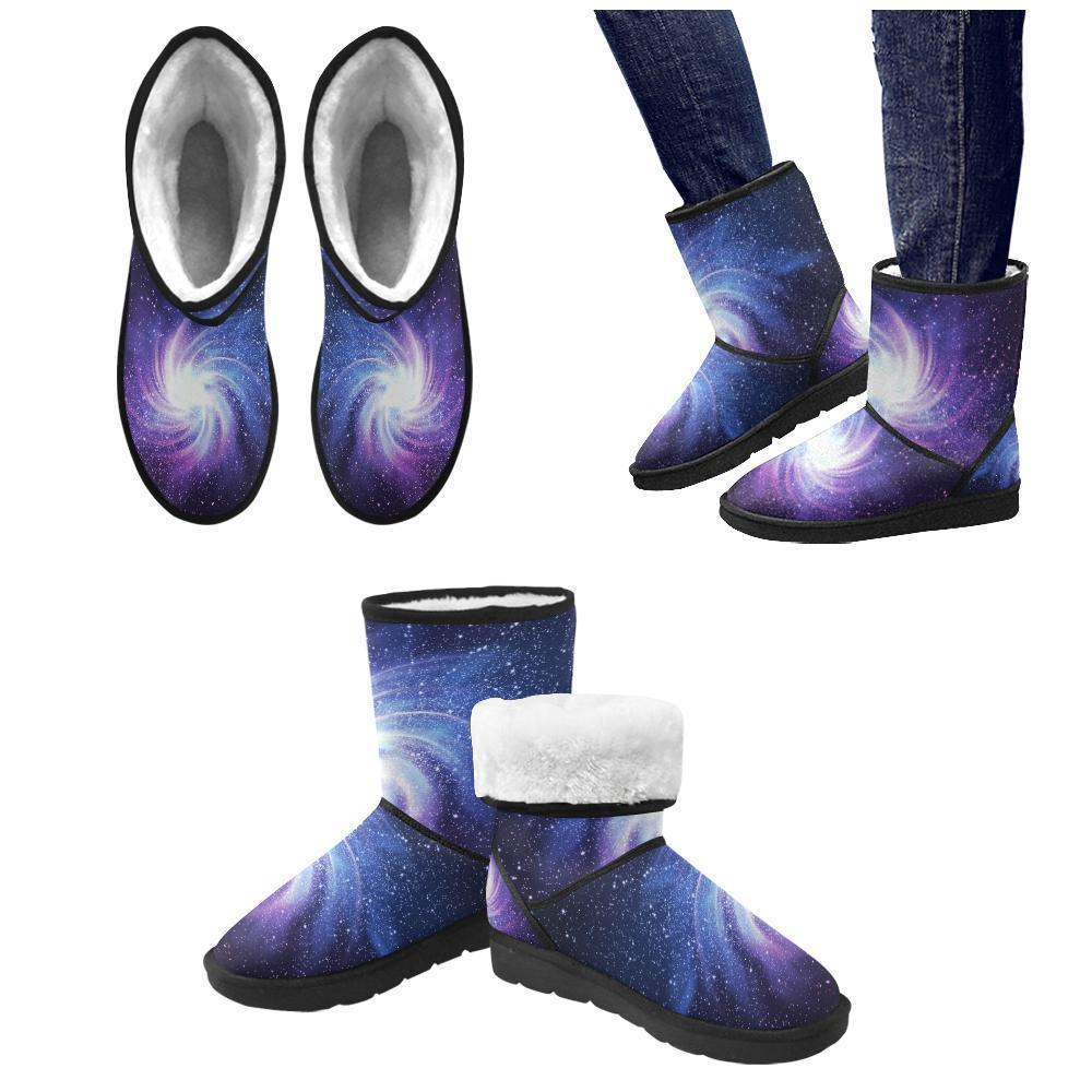 Blue Purple Spiral Galaxy Space Print Men's Snow Boots GearFrost