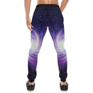 Blue Purple Spiral Galaxy Space Print Men's Sweatpants GearFrost