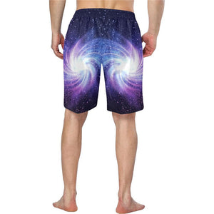 Blue Purple Spiral Galaxy Space Print Men's Swim Trunks GearFrost