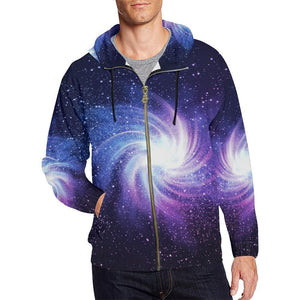 Blue Purple Spiral Galaxy Space Print Men's Zip Up Hoodie GearFrost