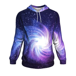 Blue Purple Spiral Galaxy Space Print Unisex Pullover Hoodie GearFrost