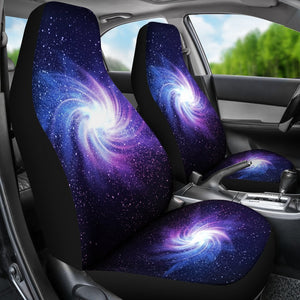 Blue Purple Spiral Galaxy Space Print Universal Fit Car Seat Covers GearFrost