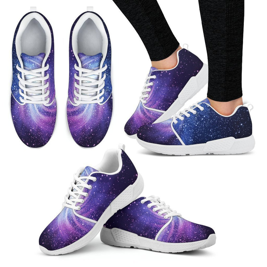 Blue Purple Spiral Galaxy Space Print Women's Athletic Shoes GearFrost