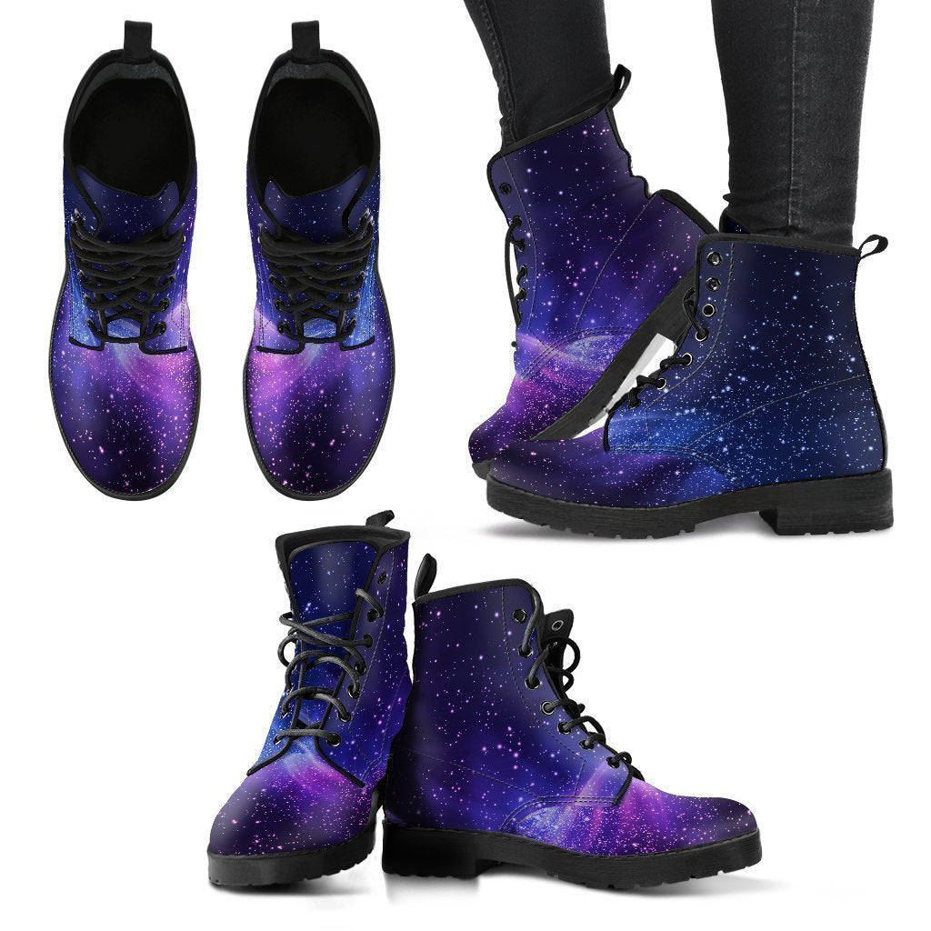 Blue Purple Spiral Galaxy Space Print Women's Boots GearFrost