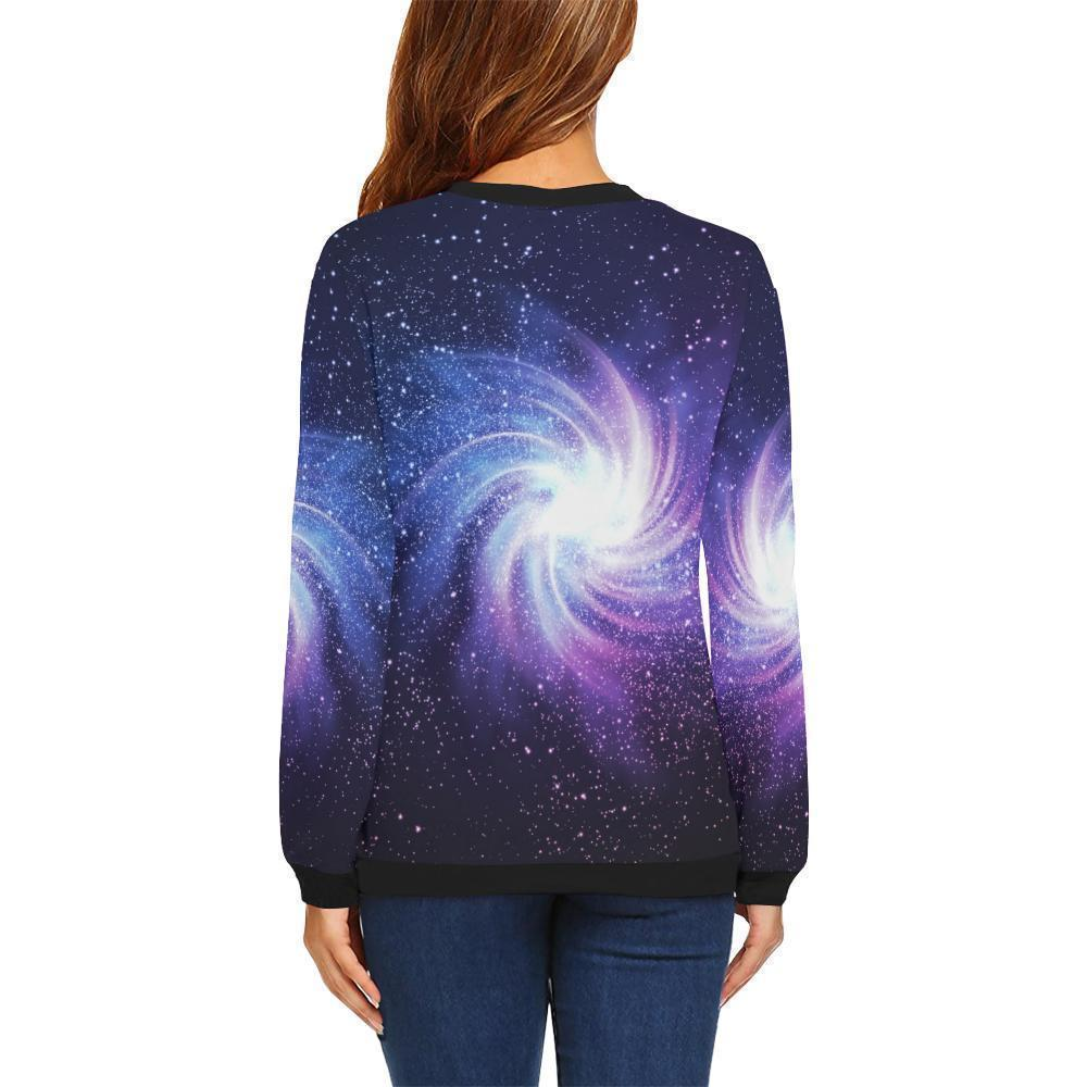Blue Purple Spiral Galaxy Space Print Women's Crewneck Sweatshirt GearFrost