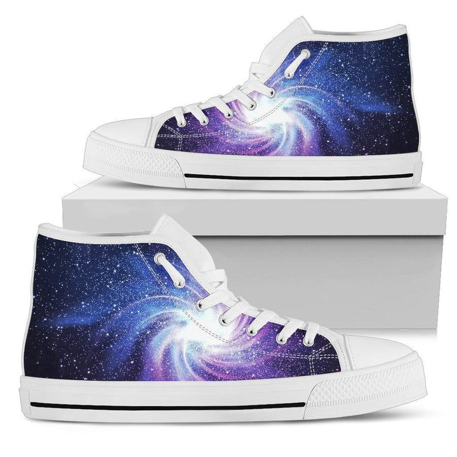 Blue Purple Spiral Galaxy Space Print Women's High Top Shoes GearFrost