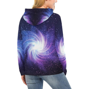 Blue Purple Spiral Galaxy Space Print Women's Pullover Hoodie GearFrost