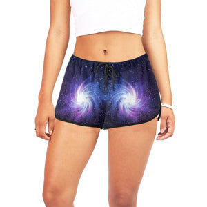 Blue Purple Spiral Galaxy Space Print Women's Shorts GearFrost