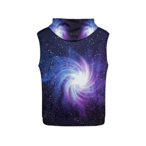 Blue Purple Spiral Galaxy Space Print Women's Sleeveless Hoodie GearFrost