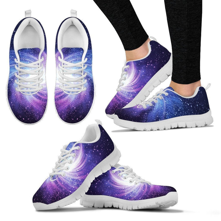 Blue Purple Spiral Galaxy Space Print Women's Sneakers GearFrost