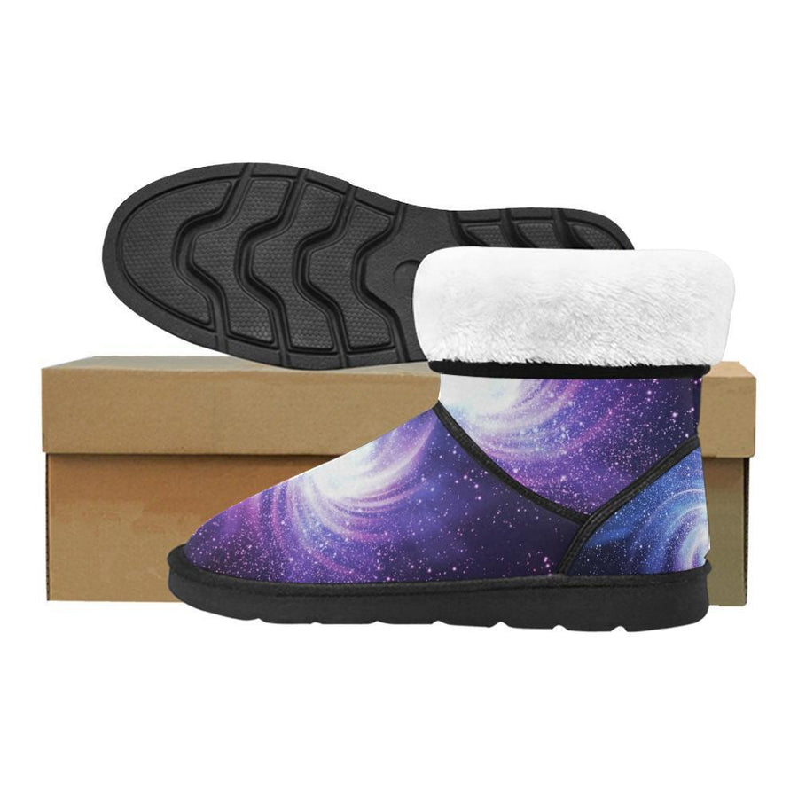 Blue Purple Spiral Galaxy Space Print Women's Snow Boots GearFrost