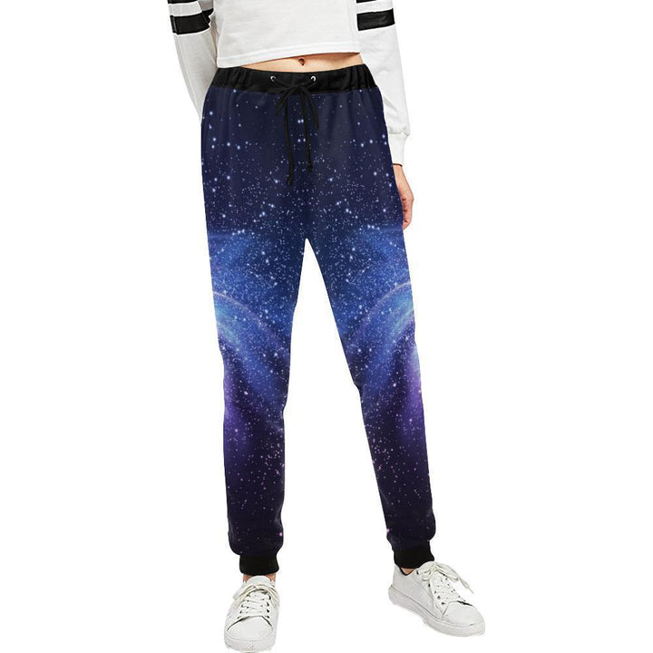 Blue Purple Spiral Galaxy Space Print Women's Sweatpants GearFrost
