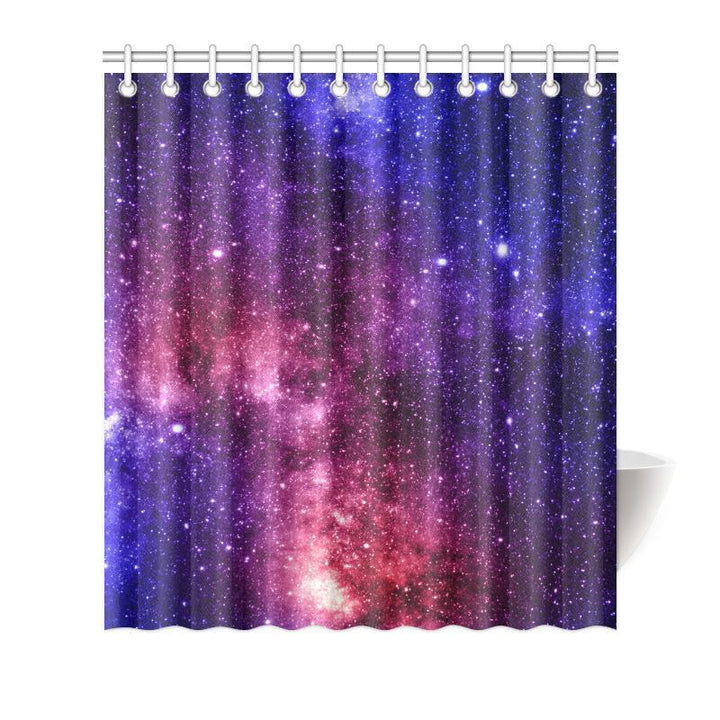 Blue Purple Stardust Galaxy Space Print Bathroom Shower Curtain GearFrost