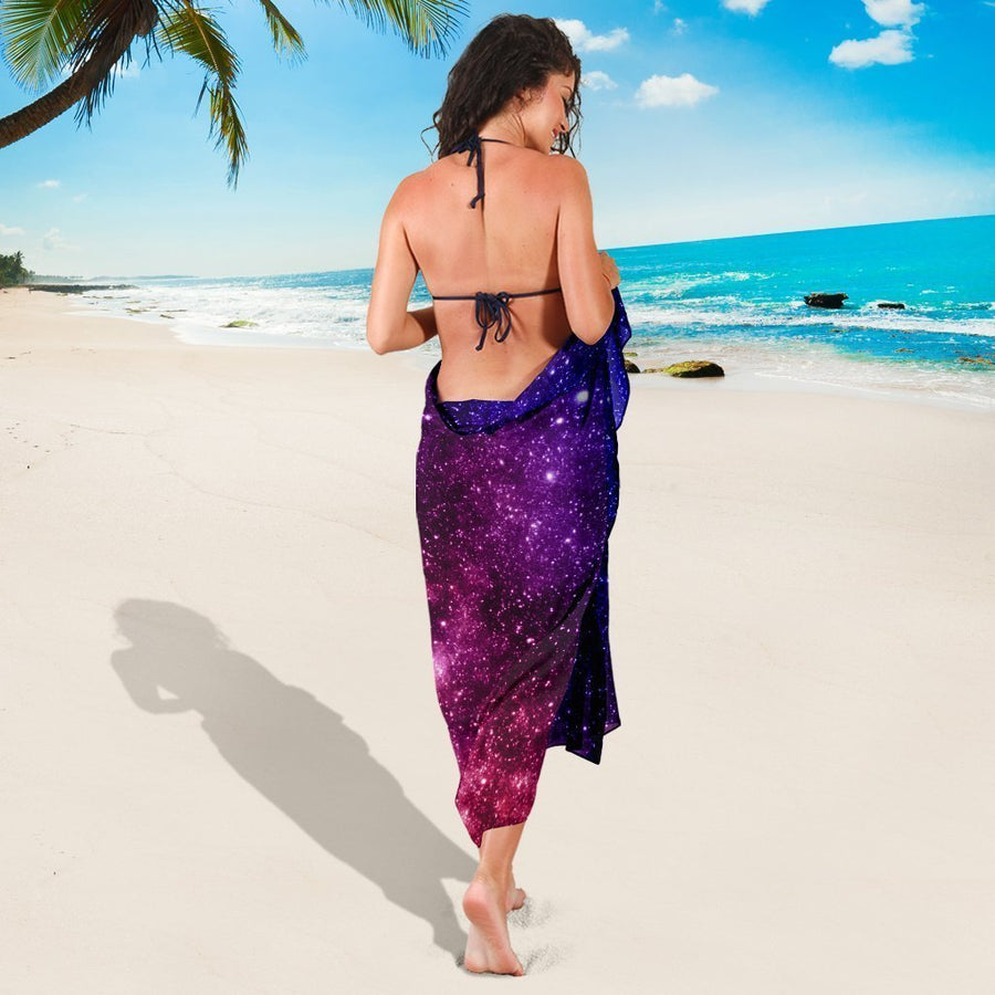 Blue Purple Stardust Galaxy Space Print Beach Sarong Wrap GearFrost