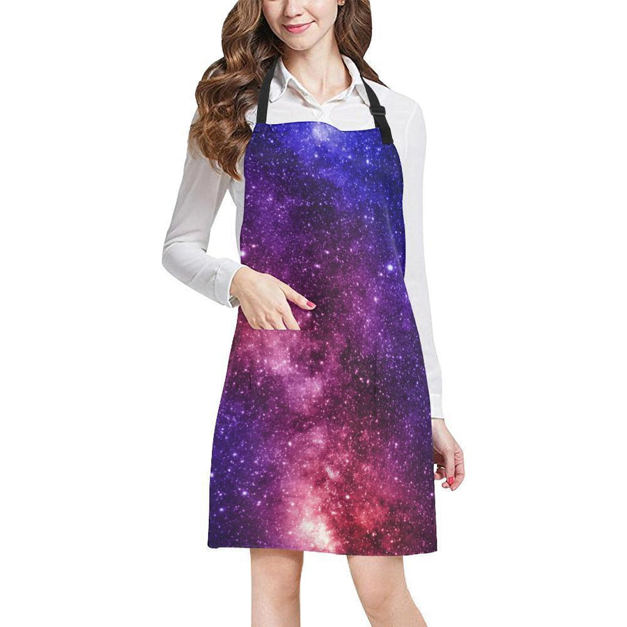 Blue Purple Stardust Galaxy Space Print Bib Apron With Pockets GearFrost