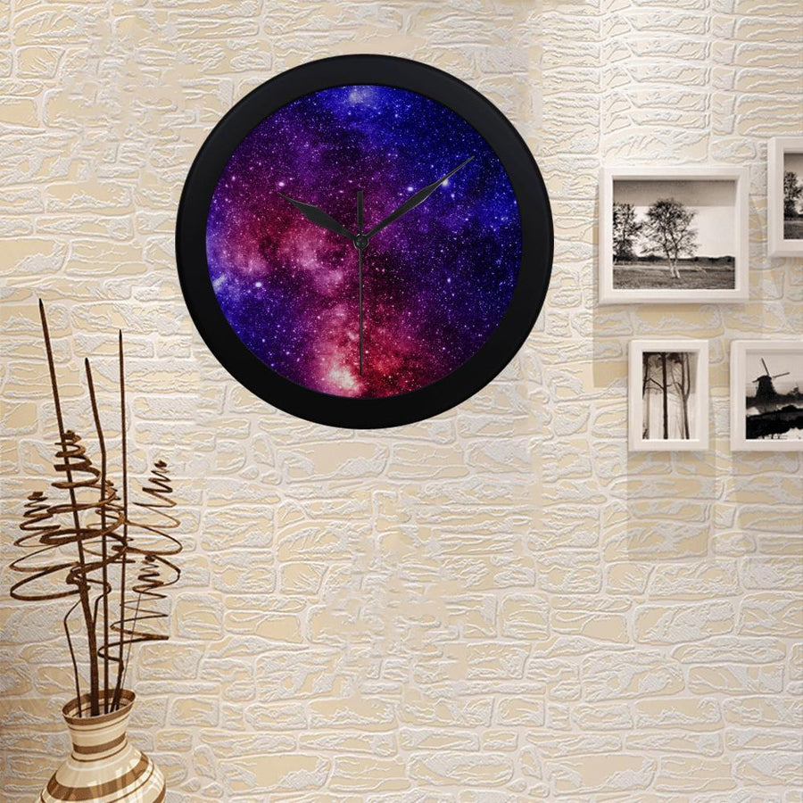 Blue Purple Stardust Galaxy Space Print Black Wall Clock GearFrost