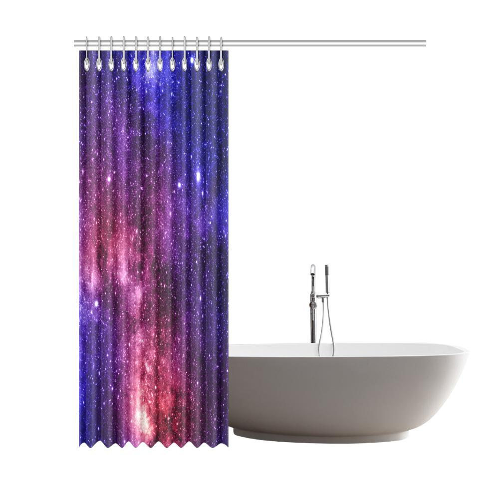 Blue Purple Stardust Galaxy Space Print Extra Long Shower Curtain