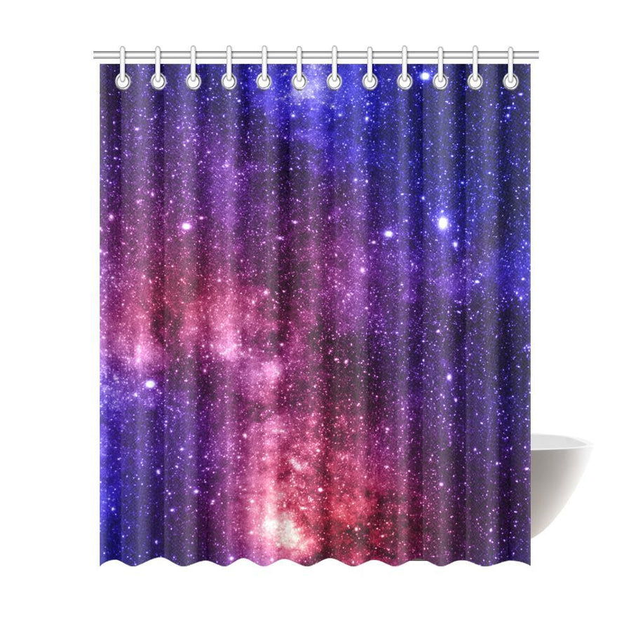Blue Purple Stardust Galaxy Space Print Extra Long Shower Curtain GearFrost