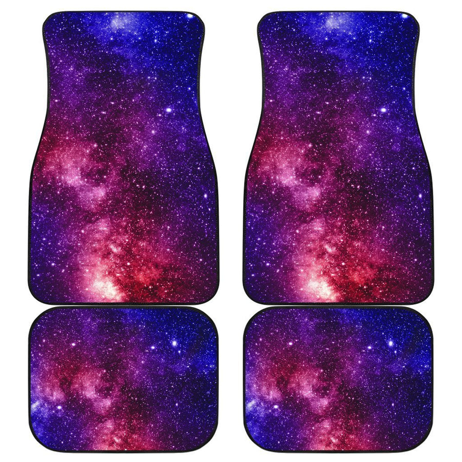 Blue Purple Stardust Galaxy Space Print Front and Back Car Floor Mats GearFrost