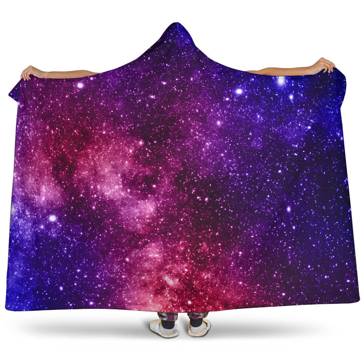 Blue Purple Stardust Galaxy Space Print Hooded Blanket GearFrost