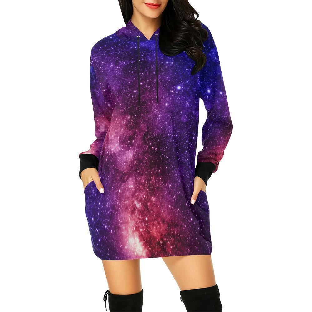 Blue Purple Stardust Galaxy Space Print Hoodie Dress GearFrost
